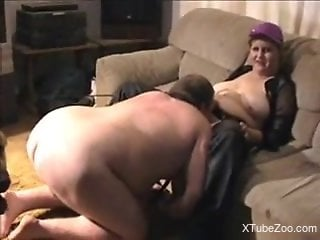Chubby MILF makes her slave fuck a big-dicked dog