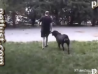 Bearded man gets ass fucked by a dog