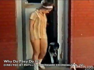 Amateur scenes of vintage zoophilia between teens and dogs