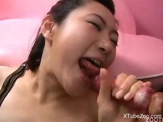 Japanese slut loves drinking dog sperm in the end of her show