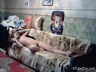 Nude woman fucked by hubby  and made to have sex with the dog