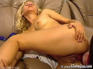 Blonde gets her pussy gaped by a black dog on a couch