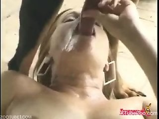 Dark-haired Latina getting pounded by a kinky dog