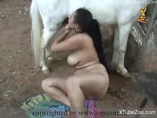 Busty Latina with a hairy cunt fucks a horse