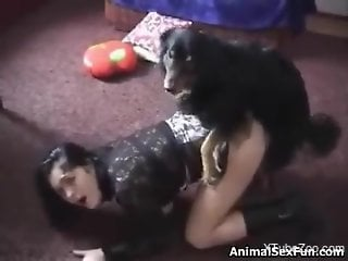 Pale skinned lady enjoying hot sex with a dirty dog